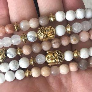 Quartz & Sunstone Crystal Buddha Bracelets